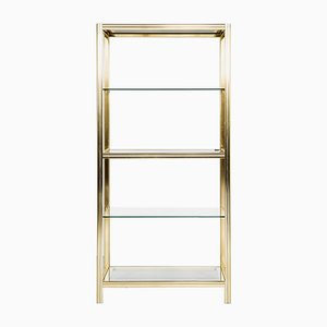 Vintage Italian Glass and Brass Shelf by Renato Zevi, 1970s