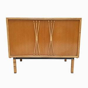 French Rattan and Birch Sideboard, 1950s