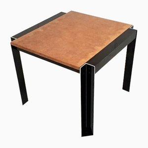 French Aluminum & Elm Burl Side Table by Georges Frydman for EFA, 1970s