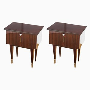 Varnished Wood Nightstands, 1970s, Set of 2