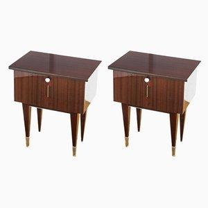 Varnished Wood Nightstands, 1970s, Set of 2