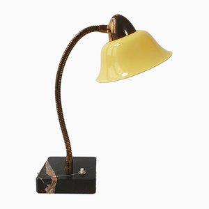 Französische Tischlampe aus Marmor, Stahl & Messing, 1950er