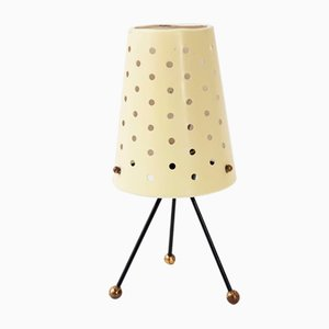 French Steel and Brass Table Lamp, 1950s