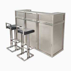 Vintage Stainless Steel and Chrome Bar & Stools Set from Maison Jansen, 1970s