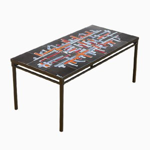 Ceramic and Lacquered Iron Coffee Table from Adri, 1960s