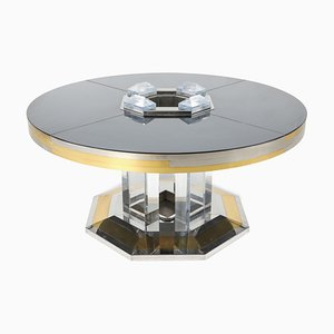 Chrome & Brass Round Dining Table by Sandro Petti for Maison Jansen, 1970s