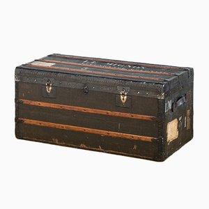 Französischer Koffer aus Holz & Leinen, 1920er