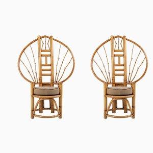 Chaises Paon Vintage en Bambou, 1970s, Set de 2