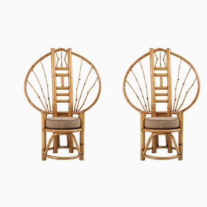 Vintage Bamboo Peacock Chairs, 1970s, Set of 2