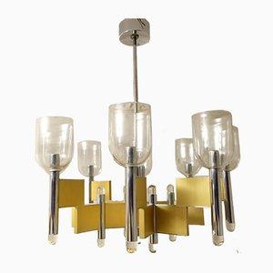 Lámpara de araña Mid-Century geométrica de 8 luces de Gaetano Sciolari, años 70