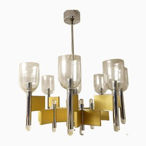 Mid-Century Geometric 8-Light Chandelier by Gaetano Sciolari, 1970s