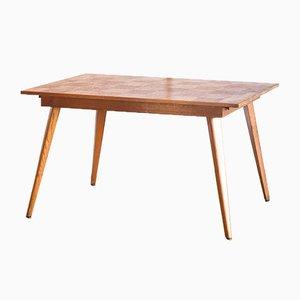 Tavolo da pranzo in quercia intarsiato, anni '60