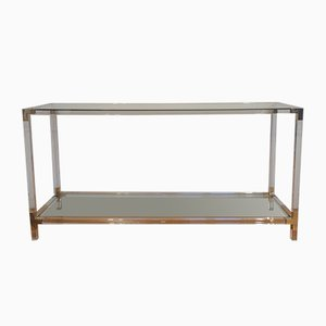 Vintage Lucite, Brass & Glass Console Table from Maison Jansen, 1970s