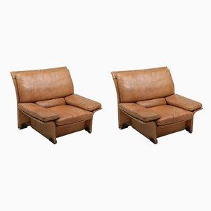 Buffalo Leather Club Chairs by Titiana Ammannati & Giampiero Vitelli, 1970s, Set of 2