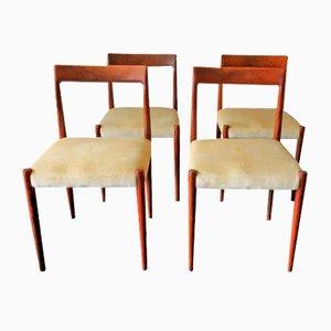 Mid-Century Esszimmerstühle mit Gestell aus Palisander & Bezug aus Angorawolle, 1960er, 4er Set