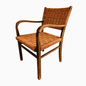 Butaca vintage de madera y cuerda, años 60