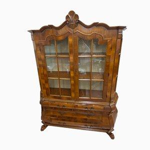 Mobiletto in legno di noce intagliato e radica, anni '30