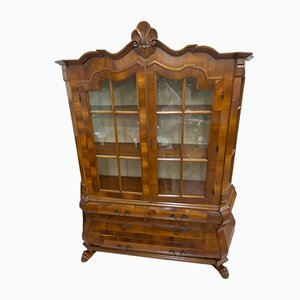 Mueble de nogal tallado y madera nudosa, años 30