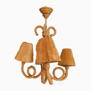 Lámpara de araña de tres brazos de Adrien Audoux & Frida Minet, años 50