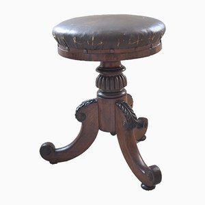Antique Walnut and Leather Adjustable Piano Stool