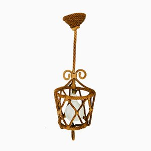 Plafonnier Lanterne en Corde par Adrien Audoux & Frida Minet, 1950s