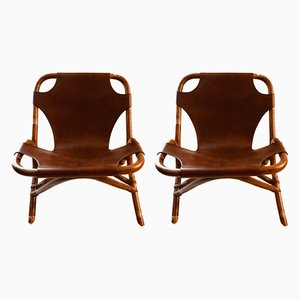 Faux Bamboo Lounge Chairs, 1970s, Set of 2