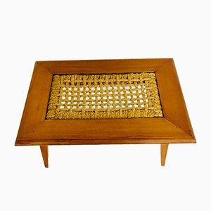Tavolino da caffè in faggio e corda di Adrien Audoux & Frida Minet per Vibo, anni '50