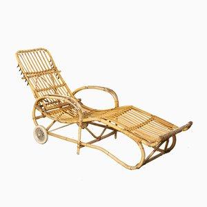 Chaise longue reclinable de ratán, años 60