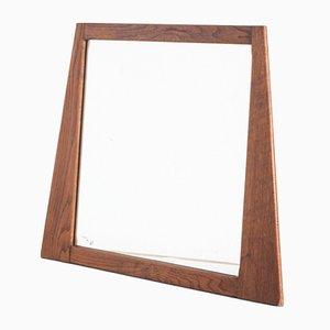 Specchio con cornice in quercia, anni '60