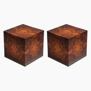 Mesas auxiliares vintage cuadradas de madera nudosa de Jean Claude Mahey, años 70. Juego de 2