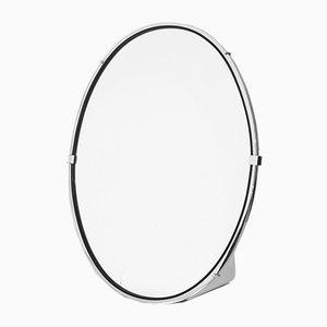 Espejo oval de metal cromado, años 60