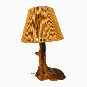 Brutalist Wood & Rope Table Lamp, 1960s