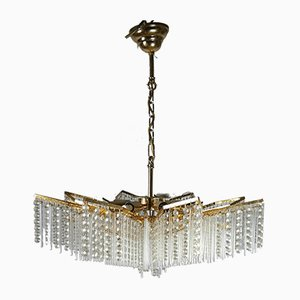 Crystal and Gold Plated Chandelier, 1970s
