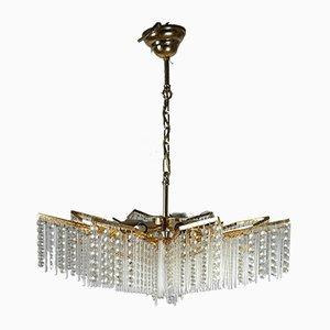 Lámpara de araña bañada en oro y cristal, años 70