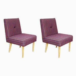 Mid-Century Purple Armchairs, 1950s, Set of 2