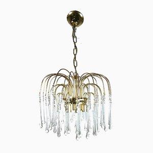 Lámpara de araña en cascada de vidrio, años 70