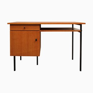 Modernist Teak Veneer & Metal Desk, 1960s