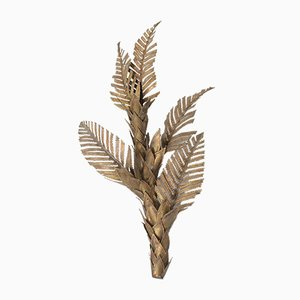 Hollywood Regency Brass Palm Tree Sconce, 1970s