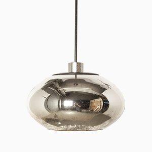 Lampada in vetro e in metallo cromato, anni '60