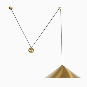 Large Brass Keos Ceiling Lamp by Florian Schulz, 1970s