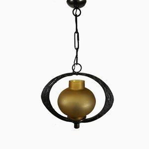 Lámpara de araña de hierro y vidrio ámbar hecha a mano, años 70