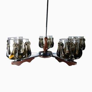 Lámpara de araña de cristal de Murano, teca y cromo, años 70