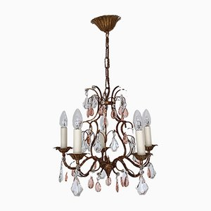 Small Mid-Century French Tole Chandelier