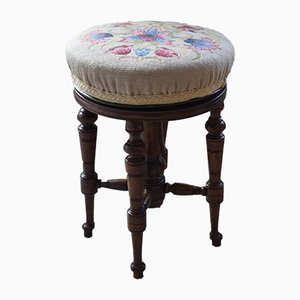 Antique Walnut Floral Embroidered Adjustable Stool