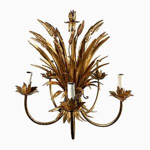 Lámpara de araña vintage dorada de gavilla de trigo de Hans Kögl, años 70