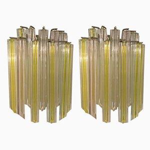Apliques de cristal de Murano de Paolo Venini, años 70. Juego de 2