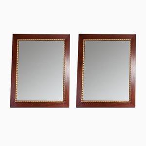 Italienische Vintage Spiegel mit Rahmen aus Mahagoni & Blattgold, 2er Set