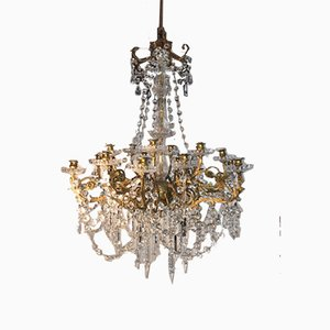 Bronze and Crystal Glass 12-Arm Chandelier, 1930s