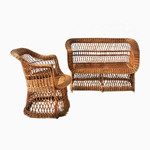 Dutch Rattan Garden Chair and Sofa, 1950s, Set of 2