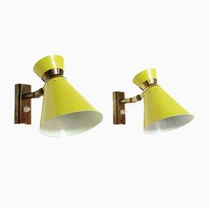 Lámparas de pared amarillas de René Mathieu para Lunel, años 60. Juego de 2
